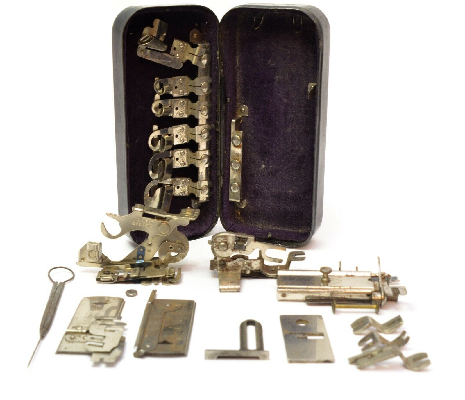 Vintage Rotary Sewing Machine Greist Attachments Mix Parts with Metal Box - $11.85