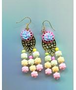 pastel rose chandelier earrings long dangles drops flower beaded floral ... - $5.50