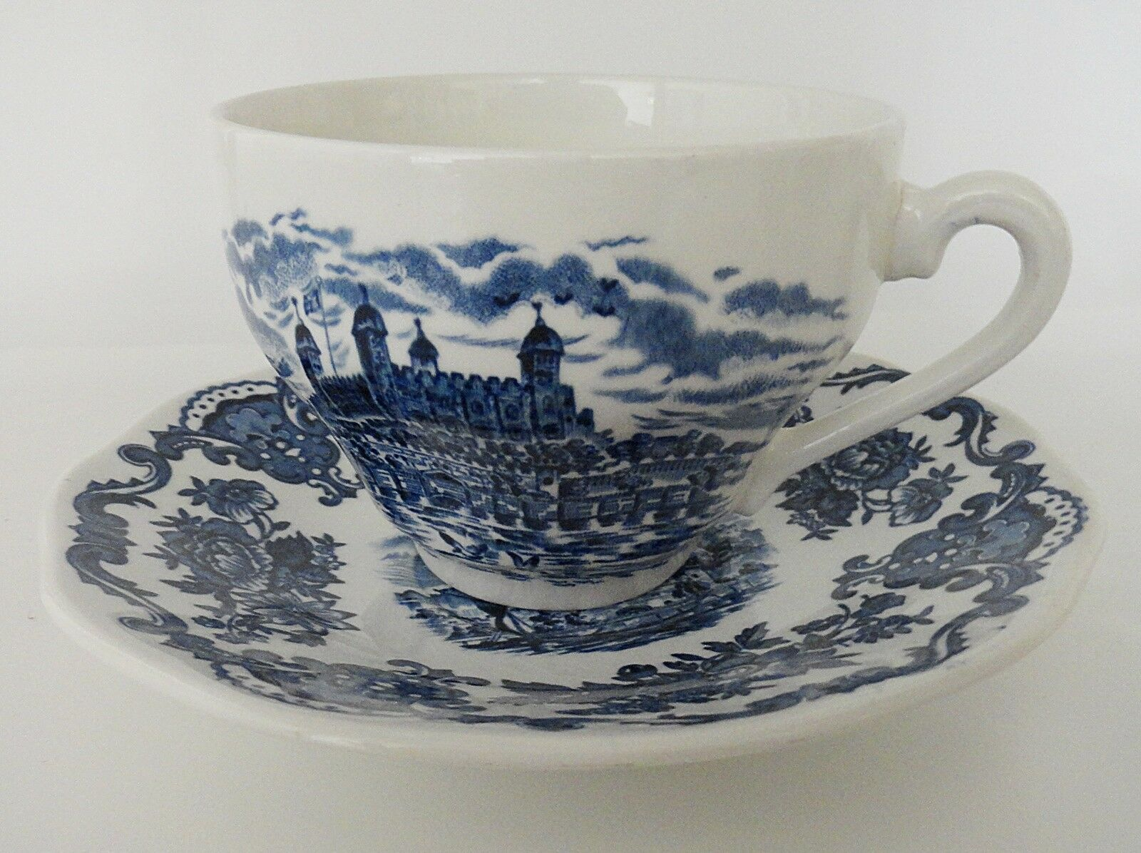 Enoch Wedgwood Royal Homes of Britain Cup and Saucer Blue