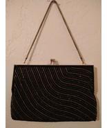 Black Gold Beaded Evening Bag WALBORG Vintage 60s Chain Strap Change Purse - $75.24