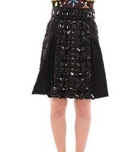 Dolce & Gabbana Black Crystal Handmade Above Knee Skirt - $4,759.75