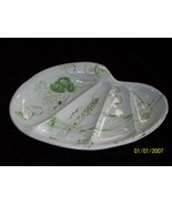 Ed Langbein Italy Art Pottery Vegetable Tray Platter Green/White Signed - $24.99