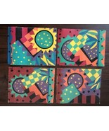 Vintage 80's Set 4 Artist Painted Art Canvas Placemats Signed Hand Made ... - $145.12