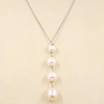 Necklace White Gold 18K, Pendant Pearls Pink, round and Drop, Chain Rolo ' image 1