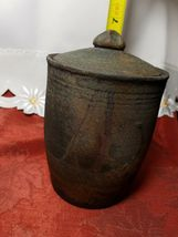 """VINTAGE HAND TURNED COVERED CLAY CANISTER / HUMIDOR 6.5"""" TALL WITH LID image 10"""