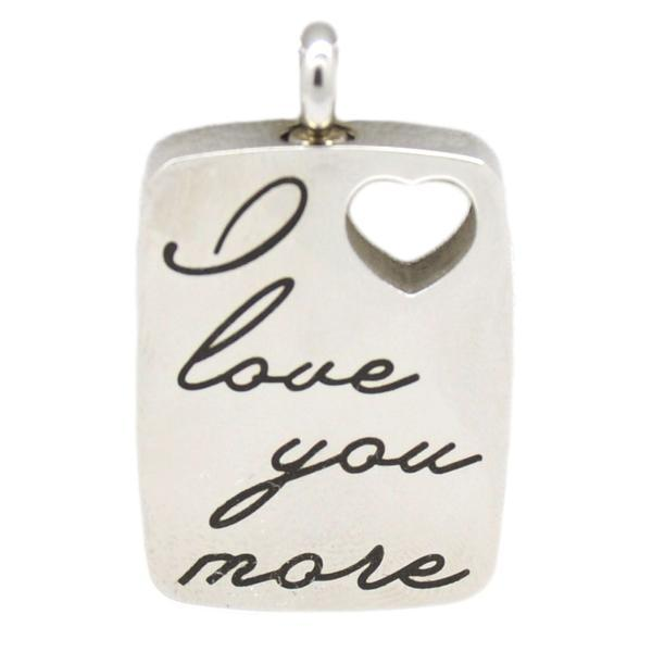 "Primary image for ""I Love You More"" Stainless Steel Cremation Urn Pendant w/20-inch Necklace"
