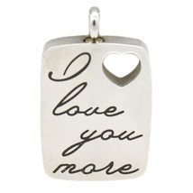 """I Love You More"" Stainless Steel Cremation Urn Pendant w/20-inch Necklace - $79.99"