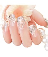 Charming Wedding Bridal French Nails Fake Nail Rhinestones Nail Art Desi... - $9.93