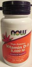 NOW Vitamin D-3 5,000 IU 120 Softgels Exp 08/2018 - $8.86