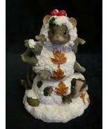 A SNOWY TRIO Charming Tails FIGURE Christmas mouse rabbit raccoon Snowman - $19.99