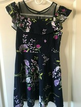 Children's Place Girls Size 10/12 Navy Blue Floral Dress - $8.59