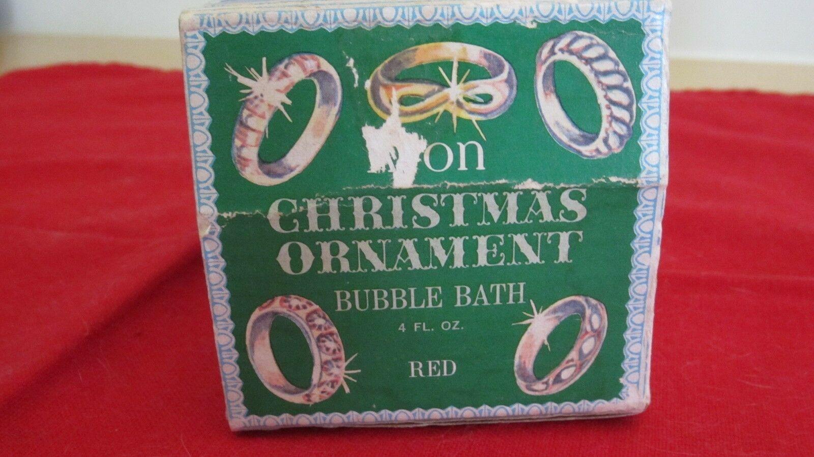 Avon Vintage Christmas Collectible Bulb Bubble Bath Original Box Red Ornament