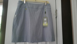Nwt Ladies Lisette Sport Swing Control Blue & White Striped Golf Skort Size 12 - $54.99