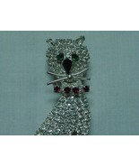 VINTAGE SPARKLY RHINESTONE CRYSTAL CAT KITTY PIN SWINGING TAIL - £42.06 GBP