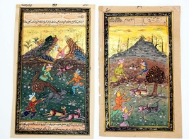 2 Illuminated paintings of Persian Hunting Scenes. Gift, Curio,  Waterco... - $45.00