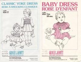 2X Grace Knott Classic Yoke & Baby Dress English Smocking Pattern 5-18M S2 - $13.99