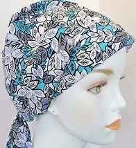 English Traditions Pretty Blue Floral Cancer Hat Alopecia Hair Loss Scar... - $16.95