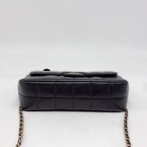 AUTHENTIC CHANEL Lambskin Camellia Mini Flap Black Flap Bag GHW image 5