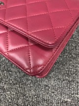 100% AUTH CHANEL WOC Quilted Lambskin Red Wallet on Chain Flap Bag SHW image 6