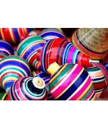 Multi-Color Wood Trompo Mexican Traditional Toy Handmade New - $8.00