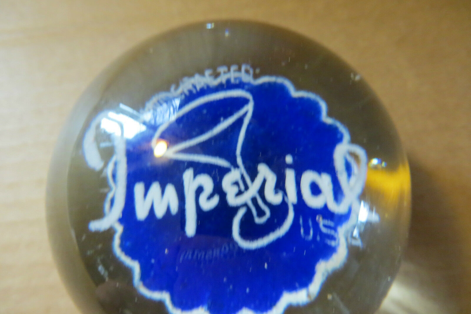 antique Hand Crafted Imperial glass company scarce mint advertising paperweight