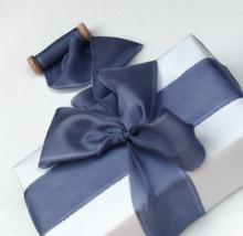 Silk ribbon, Steel Blue, hand-dyed silk ribbon - $11.10+