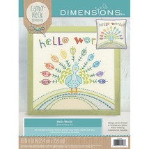 """Hello World Peacock Embroidery Kit Dimensions New 10"""" x 10"""" Cathy Heck S... - $20.78"""