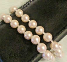 VINTAGE SIGNED MONET GOLD TONE FAUX PEARL HAND KNOTTED DUAL STRAND BRACELET - $9.70