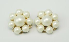 Vintage Pearl Bead GT Cluster Earrings - $5.00
