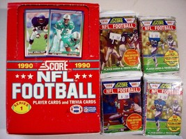 (20) Unopened 1990 Score Football Series 1 packs w/box-16/pack-320 total - $15.50