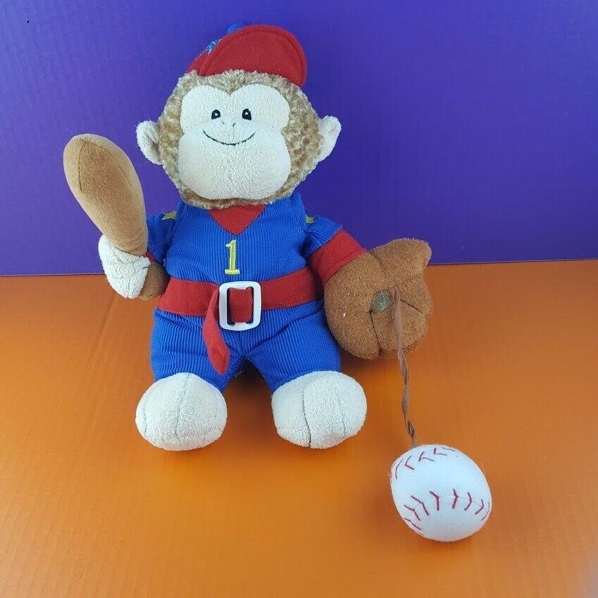 "Baby Gund Plush Monkey MVP Baseball Player Stuffed Animal Sound 14"" Rattles #A39 - $17.81"