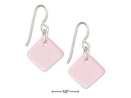 Sterling Silver Blushing Pink Square Sea Glass Earrings - $24.00