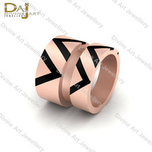 Black Enamel Matching Couple Bands His and Her Eternity Band Set Sterlin... - $298.10