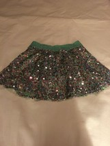 Size 12 Justice Fully Sequined Mini Skirt Skort Aqua Mint Green Pink EUC - $22.00