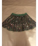 Size 12 Justice Fully Sequined Mini Skirt Skort Aqua Mint Green Pink EUC - $22.00