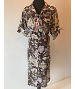Vintage Brown Floral Belted Dress Trimmed with Bows size XS S Short Slee... - $18.95