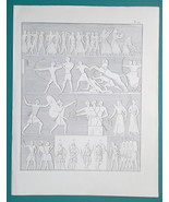 EGYPT War Warriors Arms Ensign Bearer Prisoners Bowmen - 1828 Antique Print - $14.40