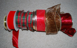 LOT Christmas Ribbons Assorted Rolls Gift Wrap Ribbon Holiday Red Gold G... - $24.70