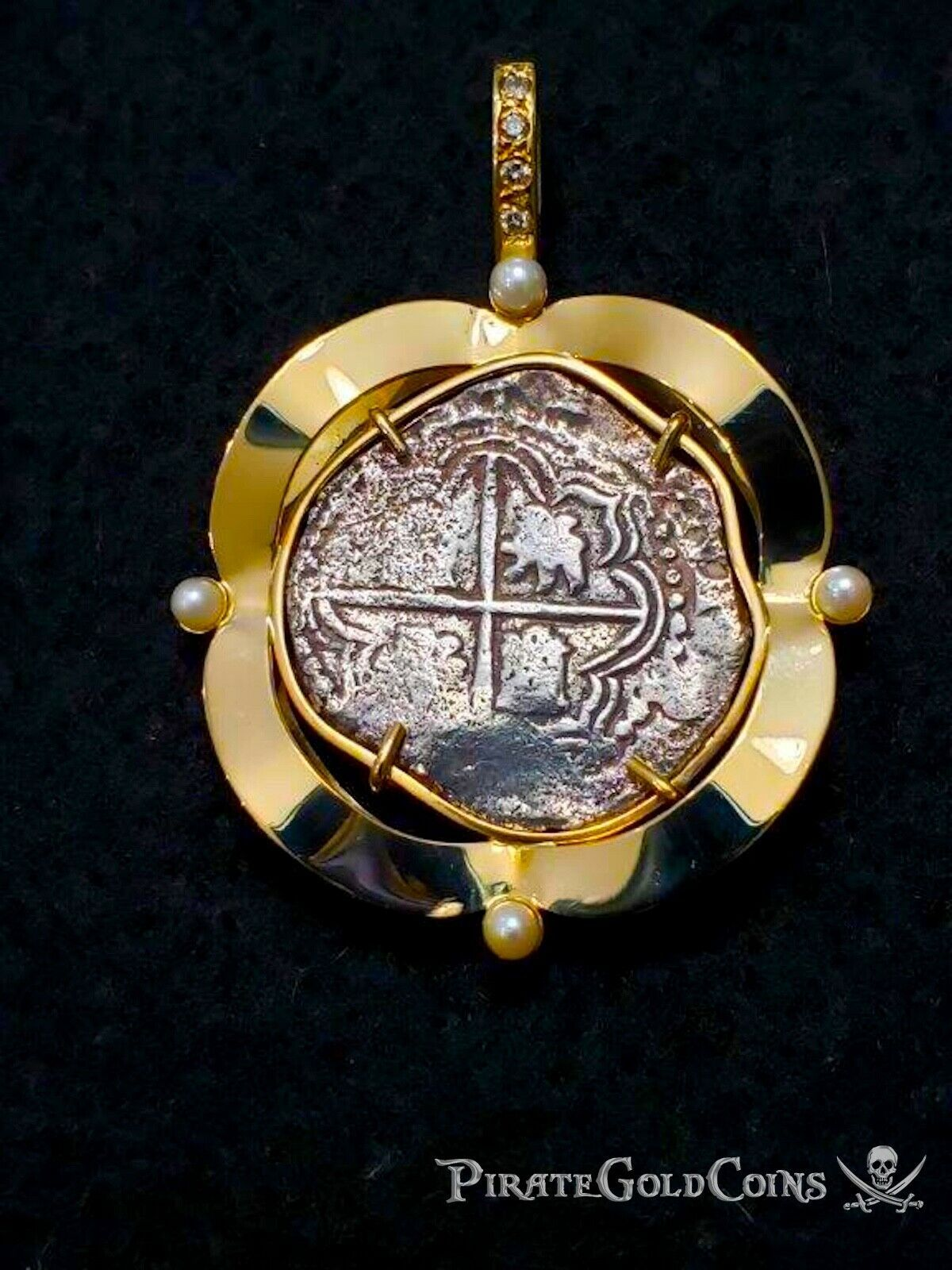 Primary image for ATOCHA 2 REALES DIAMONDS & PEARLS PIRATE GOLD SHIPWRECK COINS PENDANT NECKLACE