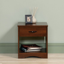 Cherry Wooden Beside Nightstand Table Drawer Storage Shelf Bedroom Furni... - $63.93
