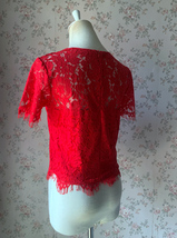 2021 Red Lace Crop Top Short Sleeve Plus Size Wedding Bridesmaid Red Crop Tops  image 6