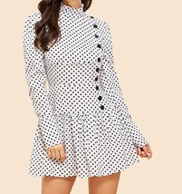 Single Breasted High Neck Polka Dot Flared Shift Dress Ruffle Hem Weeken... - $51.99