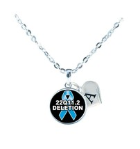 Custom 22Q11.2 Deletion Awareness Silver Chain Necklace Initial or Family Charm - $13.94