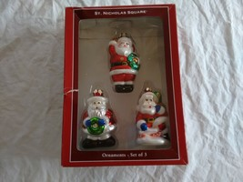 St. Nicholas Square Blown Glass Santa Ornaments Set of 3 - $21.77