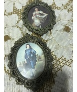 Set of Vintage Small Oval Brass Framed Victorian Boy and Girl Prints Wal... - $10.00