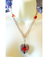 ANGEL WINGS HEART necklace heart pendant necklace gold chain red gem gla... - $7.99