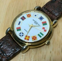 Vintage LA Express Gold World Flags Braided Leather Quartz Watch Hour~Ne... - $17.09