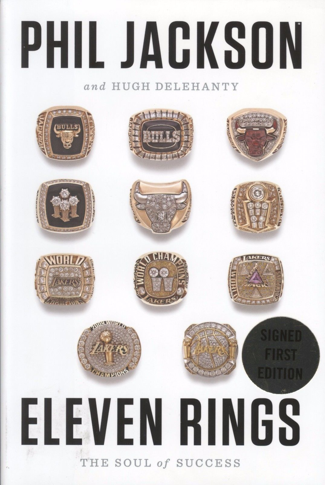 """Phil Jackson Signed Book """"Eleven Rings"""""""