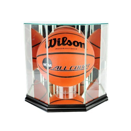 Perfect Cases NBA Octagon Basketball Glass Display Case, Black