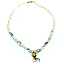 18K ROSE GOLD LARIAT NECKLACE WHITE FW PEARLS, PRESIOLITE, AMETHYST PENDANT image 2